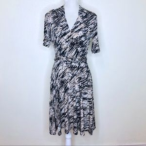 Adrianna Printed Collared Faux Wrap Dress